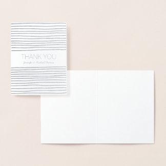 Cartão Metalizado Obrigado que de prata das listras você