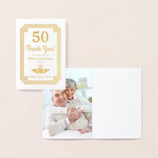 Cartão Metalizado Obrigado real do aniversário do céltico 50th da