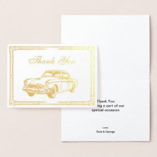 Cartão Metalizado Obrigado retro rujindo do carro do art deco 20s