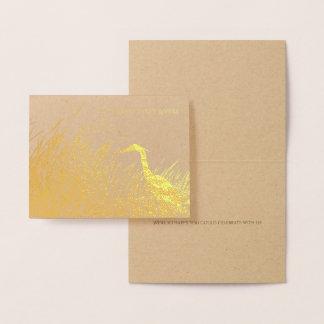 Cartão Metalizado Obrigado rústico do casamento da silhueta da