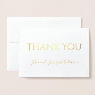 Cartão Metalizado Obrigado simples da folha de ouro você com