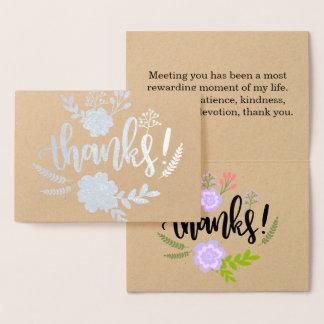 Cartão Metalizado Obrigado sincero da tipografia floral da folha de