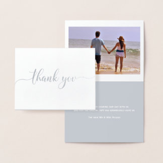 Cartão Metalizado Obrigado tipografia