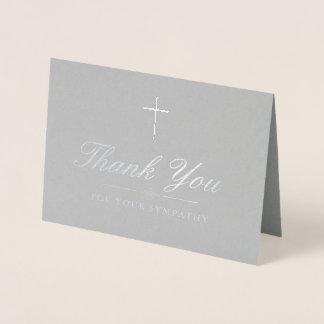 Cartão Metalizado Obrigado transversal de prata elegante da simpatia