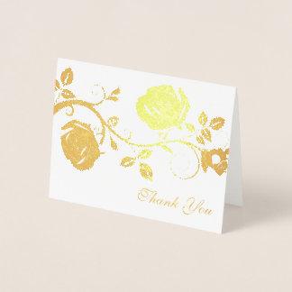 Cartão Metalizado Obrigado videira do Cartão-Rosa