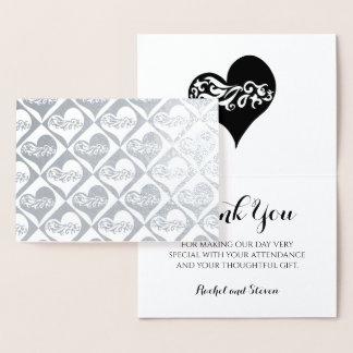 Cartão Metalizado Obrigado Wedding você prateia o teste padrão dos