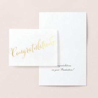 Cartão Metalizado Ocasião especial da graduação dos parabéns do ouro
