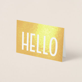 Cartão Metalizado Olá! olá! ouro minimalista moderno simples real