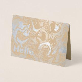 Cartão Metalizado Olá! prata marmoreada abstrato do interior do