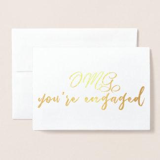 Cartão Metalizado OMG você é noivado engraçado contratado Congrats