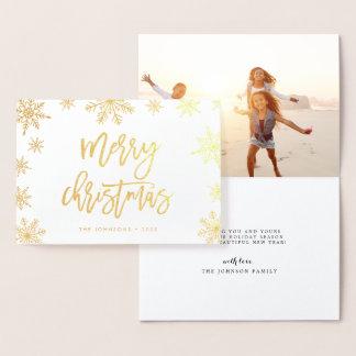 Cartão Metalizado Ouro da foto do feriado do floco de neve | do