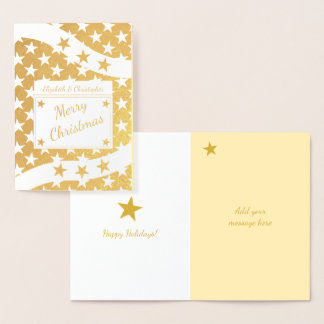 Cartão Metalizado Ouro do Feliz Natal das estrelas