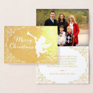 Cartão Metalizado Ouro do Feliz Natal personalizado