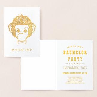 Cartão Metalizado ouro do macaco do senhor do despedida de solteiro