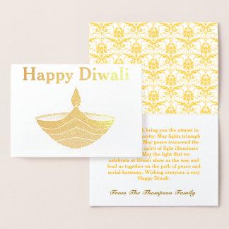 Cartão Metalizado Ouro feliz personalizado de Diwali