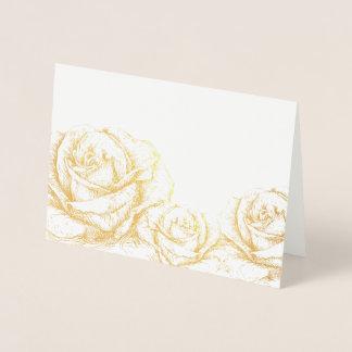 Cartão Metalizado Ouro floral dos rosas do vintage decorativo