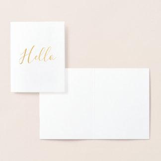 Cartão Metalizado Ouro olá!