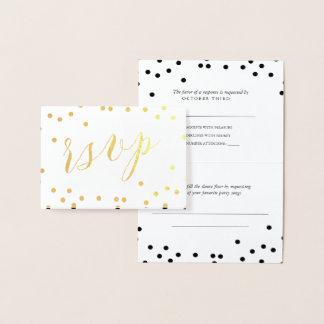 Cartão Metalizado Ouro RSVP dobrado confetes