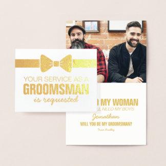Cartão Metalizado Padrinho de casamento personalizado da foto | dos