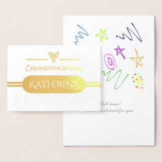 Cartão Metalizado Parabéns gerais com o emblema de aumentação de