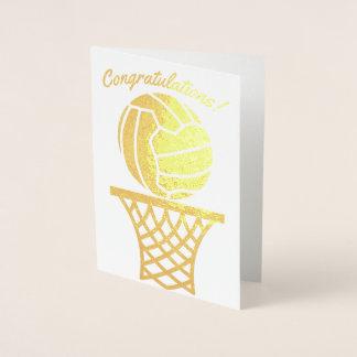 Cartão Metalizado Parabéns temáticos do design da bola do Netball