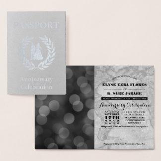 Cartão Metalizado Passaporte de prata da festa de aniversário