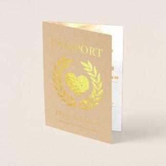 Cartão Metalizado Passaporte feliz do ouro da festa de aniversário