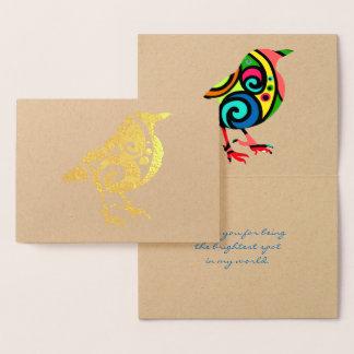 Cartão Metalizado Pássaro colorido todo o texto feito sob encomenda
