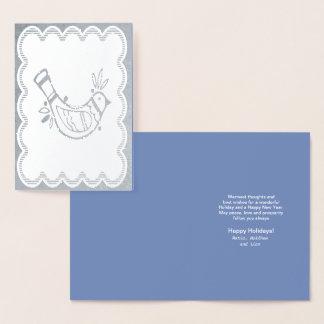 Cartão Metalizado Pássaro Scalloped da arte popular da beira