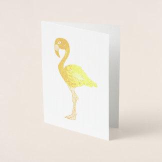 Cartão Metalizado Pássaro tropical da ilha do flamingo metálico