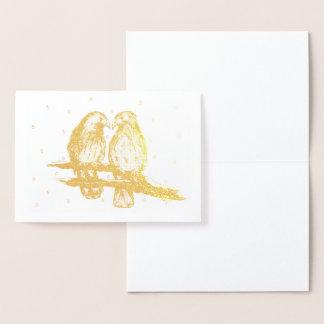 Cartão Metalizado Pássaros atados vermelho do Lovebird do falcão no