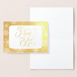 Cartão Metalizado Paz dos flocos de neve do ouro e tipografia da