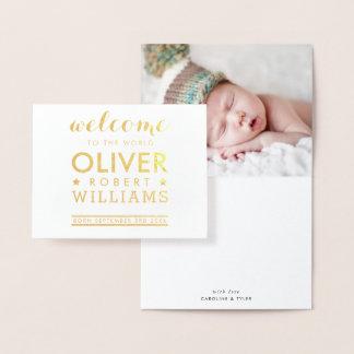 Cartão Metalizado Pilha simples do texto do bebê recém-nascido do