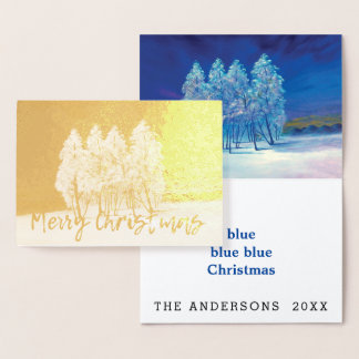 Cartão Metalizado Pintura original azul das árvores de Natal do