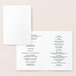 Cartão Metalizado Ponto à moda dos confetes do PROGRAMA da CERIMÓNIA
