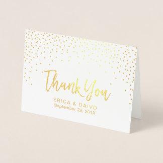Cartão Metalizado Pontos modernos dos confetes da folha de ouro que