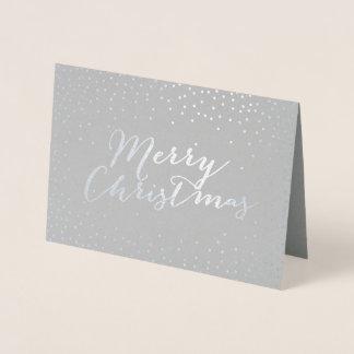 Cartão Metalizado Pontos modernos dos confetes da folha de prata do