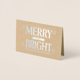 Cartão Metalizado Prata corajosa do feriado alegre e brilhante do