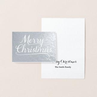 Cartão Metalizado Prata da arte da palavra do Feliz Natal