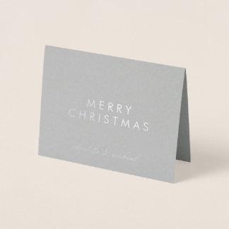 Cartão Metalizado Prata do Feliz Natal | simplesmente
