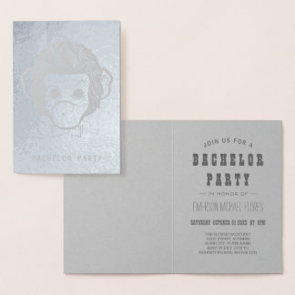 Cartão Metalizado prata do macaco do senhor do despedida de solteiro