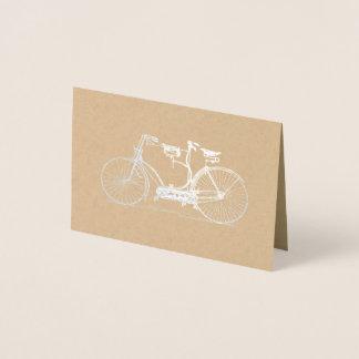 Cartão Metalizado Prata em tandem rústica da bicicleta | de Kraft