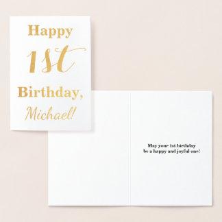 Cartão Metalizado Primeiro aniversario simples da folha de ouro +