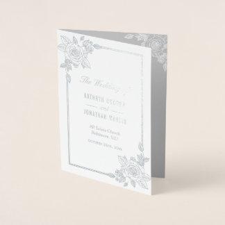 Cartão Metalizado Programa cor-de-rosa elegante do casamento da