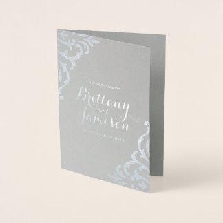 Cartão Metalizado Programa do casamento da elegância do encanto do