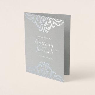Cartão Metalizado Programa do casamento da elegância do vintage da