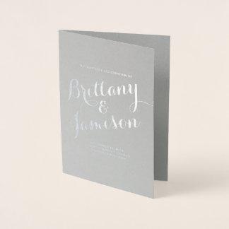 Cartão Metalizado Programa do casamento da tipografia da caligrafia