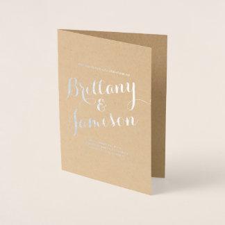 Cartão Metalizado Programa do casamento de Kraft da caligrafia da