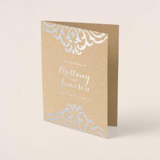Cartão Metalizado Programa do casamento de Kraft da elegância do