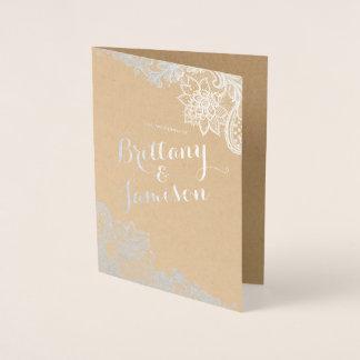 Cartão Metalizado Programa do casamento de Kraft do laço do vintage
